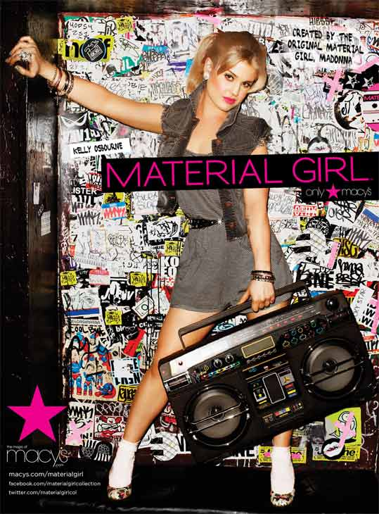 Kelly Osbourne appears in a 2011 promotional photo taken for the Spring 2011 ad campaign of Material Girl apparel, available at Macy's stores.
