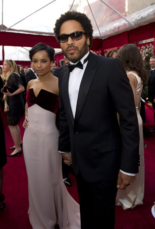 Zoe Kravitz in Alexis Mabille (lefta) and Lenny Kravitz (right), 2010.
