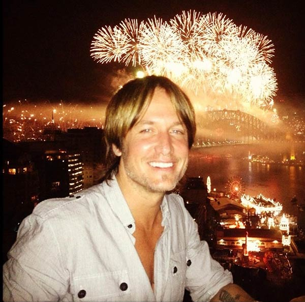 Keith Urban of the CW show 'The Vampire Diaries' posted this photo on Twitter on Dec. 31, 2012.