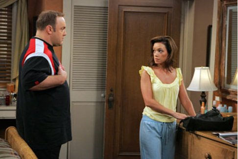 (Pictured: Leah Remini, right, and co-star Kevin James, left, in a scene from 'The King of