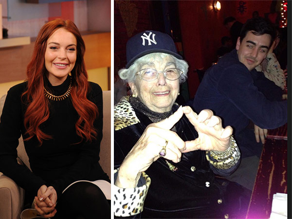 Lindsay Lohan shared this photo of her grandmother and brother on Dec. 24, 2012. / Lindsay Lohan appears on an episode of 'Good Morning America' that aired on the ABC Television Network on Nov. 16, 2012.