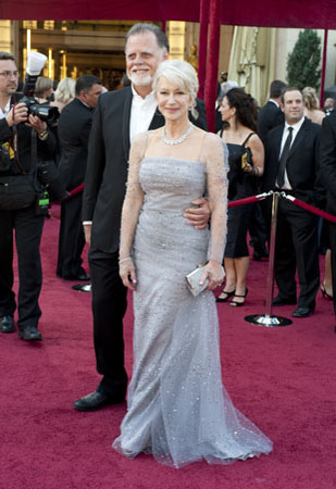 "<div class=""meta ""><span class=""caption-text "">Helen Mirren, Academy Award nominee for Best Actress for her performance in 'The Last Station,' arrives with Taylor Hackford at the 82nd Annual Academy Awards at the Kodak Theatre in Hollywood, CA, on Sunday, March 7, 2010. (Matt Petit / ©A.M.P.A.S.)</span></div>"
