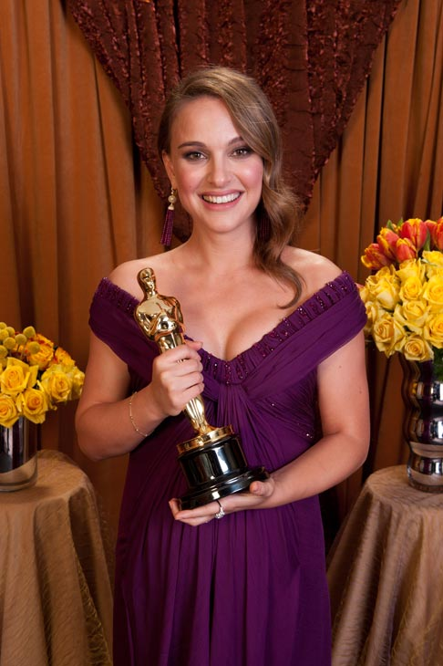 Best Actress Natalie Portman poses backstage...