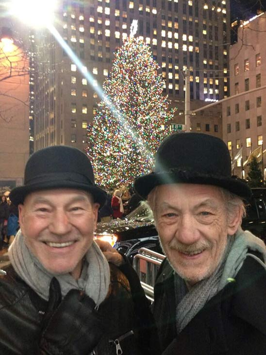 Patrick Stewart shared this Twitter photo of himself and friend and &#39;X-Men&#39; co-star Ian McKellen on Dec. 18, 2013, a week before Christmas 2013, saying: &#39;Chrismas Tree! #gogodididonyc @TwoPlaysInRep&#39; -- referring to the Broadway plays &#39;Harold Pinter&#39;s No Man&#39;s Land&#39; and Samuel Beckett&#39;s &#39;Waiting for Godot&#39; that feature the two actors. <span class=meta>(pic.twitter.com&#47;xgaaU6m6kq &#47; twitter.com&#47;SirPatStew&#47;status&#47;410902017138515968&#47;photo&#47;1)</span>