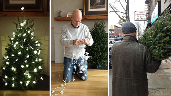Sir Patrick Stewart shared with his Twitter followers photos of him putting up a Christmas tree on Dec. 9, 2012