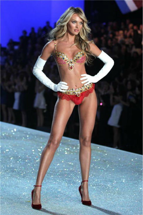 Candice Swanepoel, wearing Victoria&#39;s Secret&#39;s 10 million dollar fantasy bra, walks the runway at the 2013 Victoria&#39;s Secret Fashion Show at the Lexington Armory in New York on Nov. 13, 2013. <span class=meta>(Amanda Schwab &#47; Startraksphoto.com)</span>