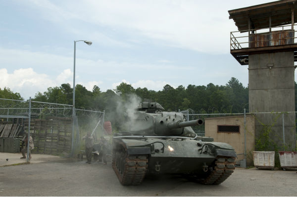 "<div class=""meta ""><span class=""caption-text "">The Governor's tank is seen near the prison on the set of AMC's 'The Walking Dead's season 4 midseason finale, which aired on Dec. 1, 2013. (Gene Page / AMC)</span></div>"