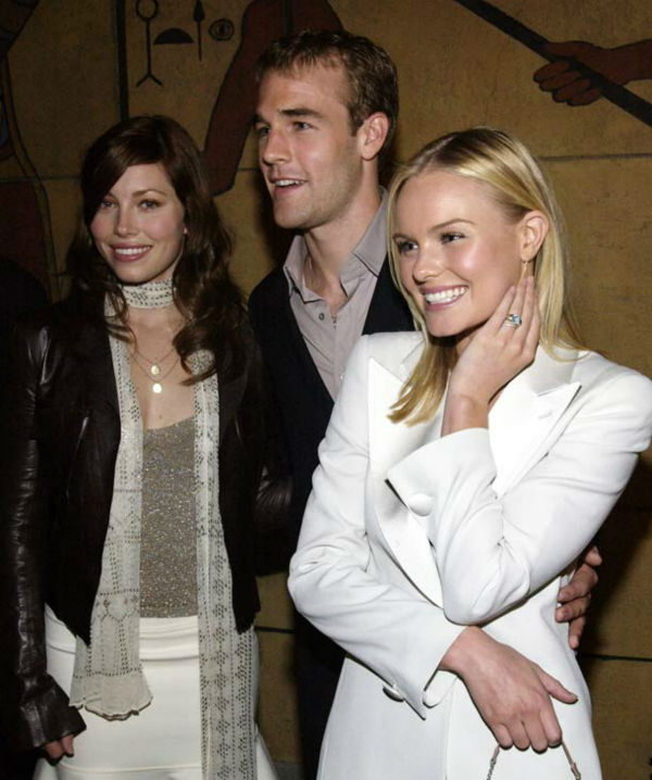 Actress Jessica Biel, left, actor James Van Der Beek and actress Kate Bosworth arrive at the premiere of 'The Rules of Attraction,' Thursday, Oct. 3, 2002, in Los Angeles.