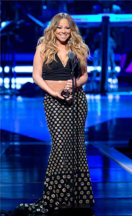 Mariah Carey appears on stage at BET's 2013 Black Girls Rock event at the New Jersey Perf