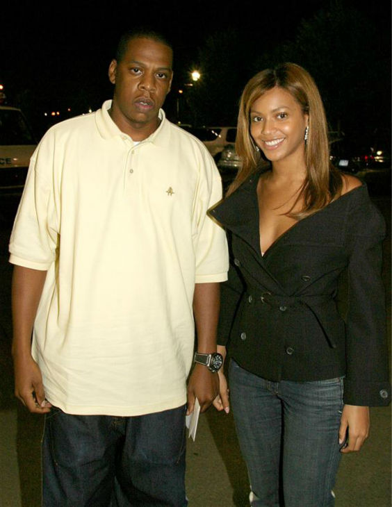 Beyonce and husband Jay-Z appear at the quarter-final match at the 2003 U.S. Open tennis championships in New York on Sept. 5, 2003.