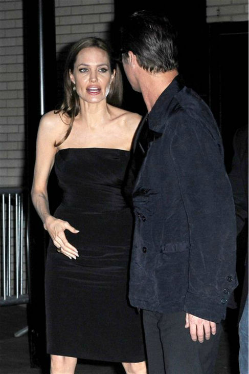 Angelina Jolie and Brad Pitt leave the premiere of the HBO film &#39;The Normal Heart&#39; in New York on May 12, 2014. <span class=meta>(Humberto Carreno &#47; Startraksphoto.com)</span>