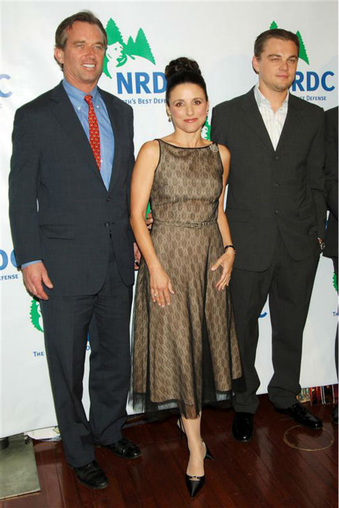 Julia Louis-Dreyfus poses with Robert F. Kennedy Jr. and Leonardo DiCaprio at the 2005 New York &#39;Forces For Nature&#39; gala, honoring co-founder John Adams and benefitting the Natural Resources Defense Council, at Cipriani in New York on March 8, 2005. <span class=meta>(Bill Davila &#47; Startraksphoto.com)</span>