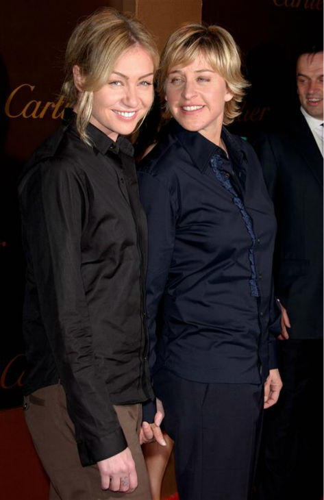 Ellen DeGeneres and now-wife Portia de Rossi appear at an event celebrating Cartier&#39;s 25th anniversary in Beverly Hills in the California city on May 9, 2005. The two wed in August 2008. <span class=meta>(Fernando Allende &#47; Startraksphoto.com)</span>