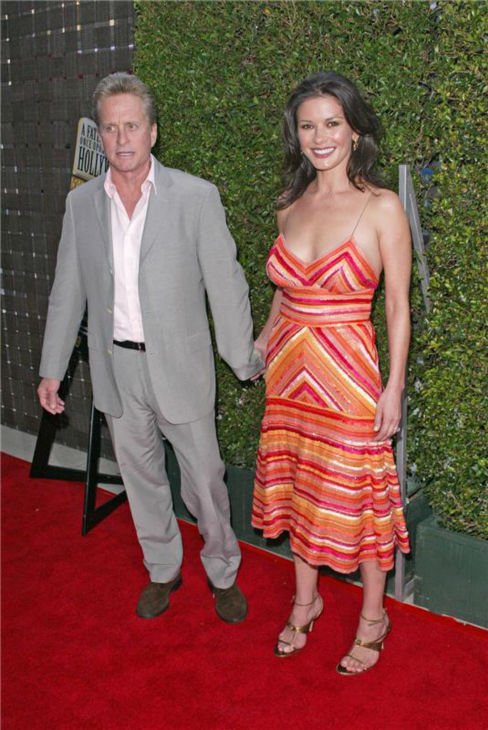 Michael Douglas and Catherine Zeta-Jones attend the premiere of &#39;LA Premiere of &#39;A Father... A Son... Once Upon a Time in Hollywood&#39; in Los Angeles on July 14, 2005. <span class=meta>(Steve Buckley &#47; Startraksphoto.com)</span>