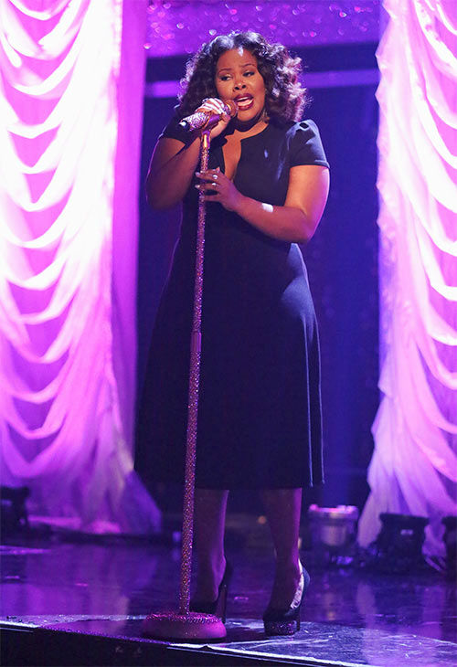 "<div class=""meta ""><span class=""caption-text "">Season 17 champion and 'Glee' actress Amber Riley performs her first single 'Colorblind' during the season 18 finale of 'Dancing With the Stars' on May 20, 2014.  (ABC Photo)</span></div>"