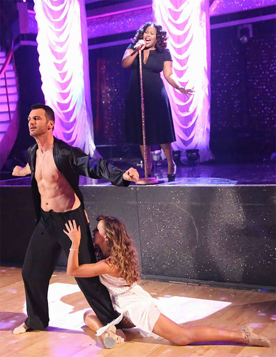 Season 17 champion and &#39;Glee&#39; actress Amber Riley performs her first single &#39;Colorblind&#39; during the season 18 finale of &#39;Dancing With the Stars&#39; on May 20, 2014.  She was joined on stage by pro dancers Tony Dovolani and Karina Smirnoff. <span class=meta>(ABC Photo)</span>