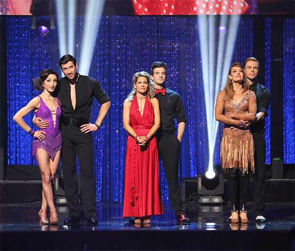 Candace Cameron Bure, Mark Ballas, Meryl Davis, Maksim Chmerkovskiy, Amy Purdy and Derek Hough await their fate on the season 18 finale of &#39;Dancing With The Stars&#39; on May 20, 2014. <span class=meta>(ABC Photo)</span>