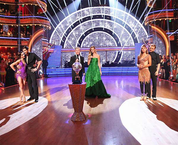 "<div class=""meta ""><span class=""caption-text "">Meryl Davis, Maksim Chmerkovskiy, Amy Purdy and Derek Hough await their fate on the season 18 finale of 'Dancing With The Stars' on May 20, 2014. (ABC Photo)</span></div>"