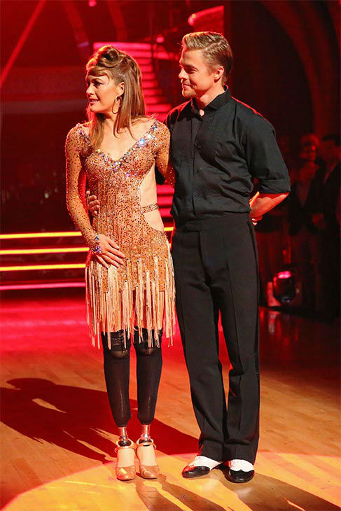 "<div class=""meta ""><span class=""caption-text "">Amy Purdy and Derek Hough await their fate on the season 18 finale of 'Dancing With The Stars' on May 20, 2014. On Tuesday, they received 30 out of 30 points from the judges for their Argentine Tango/Cha Cha Cha 'Fusion Dance.' On Monday, the pair received 30 out of 30 points for their 'Judges' Pick' Quickstep and 29 out of 30 points for their Freestyle for a total of 89 out of 90 points. (ABC Photo)</span></div>"