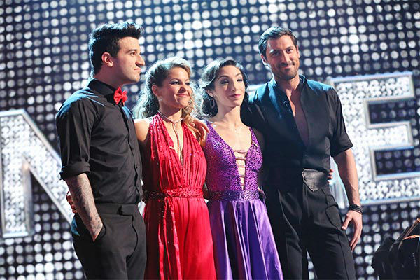 Candace Cameron Bure, Mark Ballas, Meryl Davis and Maksim Chmerkovskiy appear during the season 18 finale of &#39;Dancing With the Stars&#39; on May 20, 2014. <span class=meta>(ABC Photo)</span>