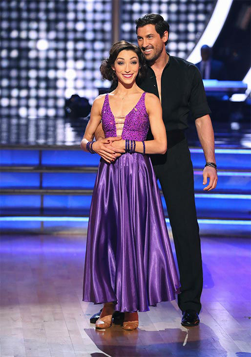 Meryl Davis and Maksim Chmerkovskiy await their fate on the season 18 finale of &#39;Dancing With The Stars&#39; on May 20, 2014. On Tuesday, they received 30 out of 30 points from the judges for their Foxtrot&#47;Cha Cha Cha &#39;Fusion Dance.&#39; On Monday, the pair received 30 out of 30 points for their &#39;Judges&#39; Pick&#39; Quickstep and 30 out of 30 points for their Freestyle for a total of 90 out of 90 points. <span class=meta>(ABC Photo)</span>