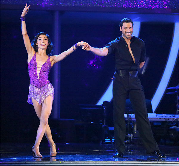 Meryl Davis and Maksim Chmerkovskiy perform a Foxtrot&#47;Cha Cha Cha &#39;Fusion Dance&#39; on week 10 of &#39;Dancing With The Stars&#39; on May 20, 2014. They received 30 out of 30 points from the judges. On Monday, the pair received 30 out of 30 points for their &#39;Judges&#39; Pick&#39; Quickstep and 30 out of 30 points for their Freestyle for a total of 90 out of 90 points. <span class=meta>(ABC Photo)</span>