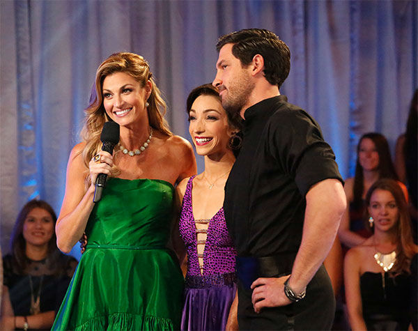 "<div class=""meta ""><span class=""caption-text "">Meryl Davis and Maksim Chmerkovskiy talk to Erin Andrews before their Foxtrot/Cha Cha Cha 'Fusion Dance' during the season 18 finale of 'Dancing With the Stars' on May 20, 2014. (ABC Photo)</span></div>"