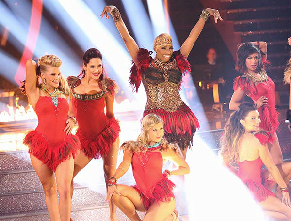 "<div class=""meta ""><span class=""caption-text "">NeNe Leakes appears with pro dancers Lindsay Arnold, Witney Carson, Sharna Burgess, Nene Leakes, Jenna Johnson and Emma Slater during the season 18 finale of 'Dancing With the Stars' on May 20, 2014. They danced to 'Grown Woman.' (ABC Photo)</span></div>"