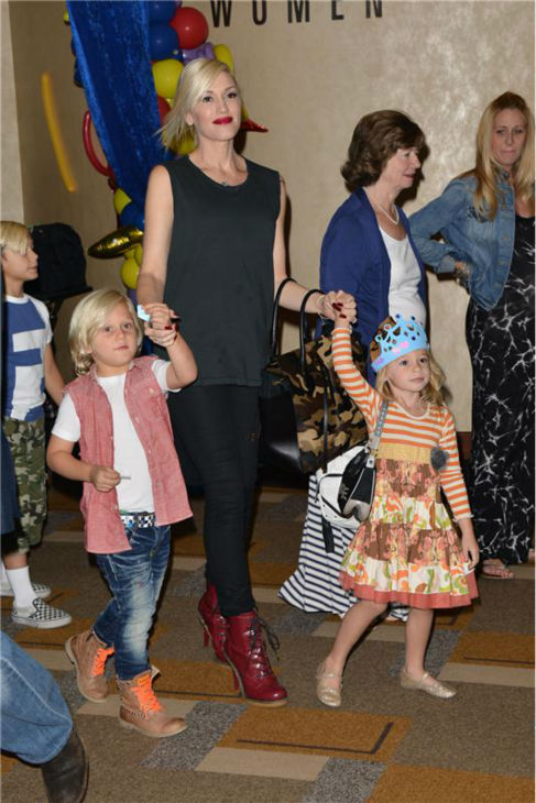 Gwen Stefani, son Zuma and a guest attend the premiere of the Disney Junior Live On Tour! Pirate and Princess Adventure event in Hollywood, California on Sept. 29, 2013. <span class=meta>(Tony DiMaio &#47; Startraksphoto.com)</span>