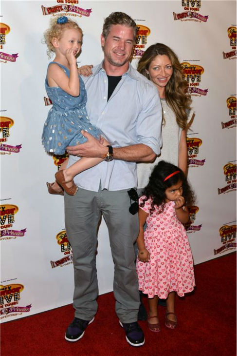 Eric Dane, wife Rebecca Gayheart and their daughters attend the premiere of the Disney Junior Live On Tour! Pirate and Princess Adventure event in Hollywood, California on Sept. 29, 2013.