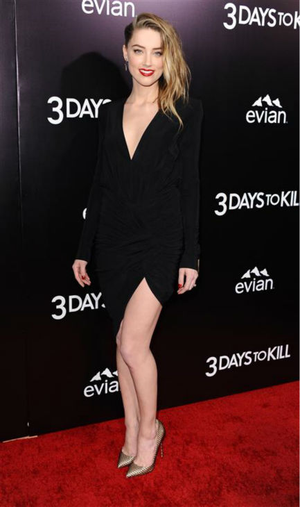 Johnny Depp&#39;s reported fiancee Amber Heard appears the premiere of the movie &#39;3 Days To Kill&#39; in Los Angeles on Feb. 12, 2014. She is one of the cast members. It was reported in January that the two are engaged, although the pair has not confirmed this. <span class=meta>(Sara De Boer &#47; Startraksphoto.com)</span>
