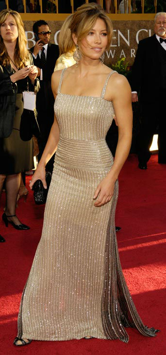 Jessica Biel arrives for the 64th Annual Golden Globe Awards on Monday, Jan. 15, 2007, in Beverly Hills, Calif.