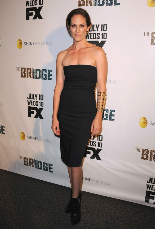 Annabeth Gish attends the premiere of the new FX series 'The Bridge' in Los Angeles on July 8, 2013.