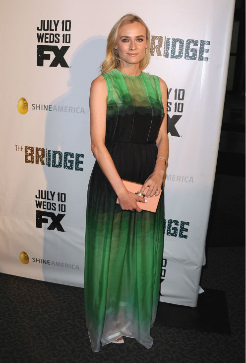 Diane Kruger attends the premiere of the new FX series &#39;The Bridge&#39; in Los Angeles on July 8, 2013. The show debuts on the cable channel on July 10.  The actress is wearing a Jonathan Saunders Resort 2014 chiffon maxi dress. <span class=meta>(Scott Kirkland &#47; Invision for FX Network &#47; AP Images)</span>