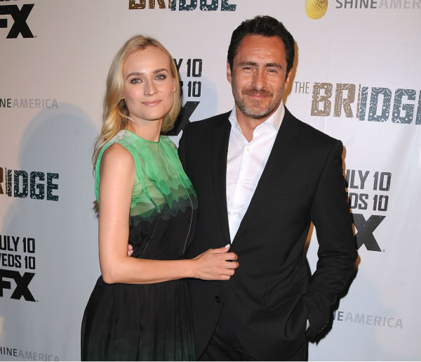 Diane Kruger and Demian Bichir attend the premiere of the new FX series 'The Bridge' in Los Angeles on July 8, 2013.