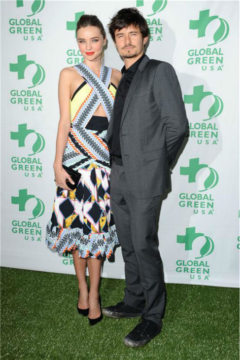 Miranda Kerr and Orlando Bloom attend Global Green USA&#39;s 10th annual Pre-Oscars party in Hollywood, California on Feb. 20, 2013. <span class=meta>(Sara De Boer &#47; Startraksphoto.com)</span>