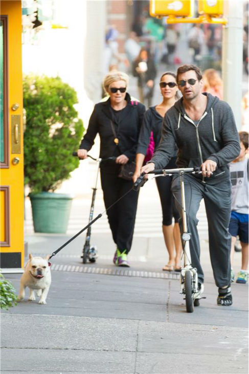 Hugh Jackman rides a scooter and walks his family&#39;s dog, Dali, in New York City on Oct. 2, 2013. Pictured left: His wife, Deborra-Lee Furness.  <span class=meta>(Freddie Baez &#47; Startraksphoto.com)</span>