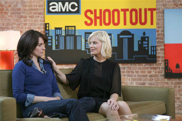 Tina Fey and Amy Poehler appear on set of AMC&#39;s &#39;Shootout&#39; in New York on April 25, 2008. <span class=meta>(Diane Bondareff &#47; Startraksphoto.com)</span>