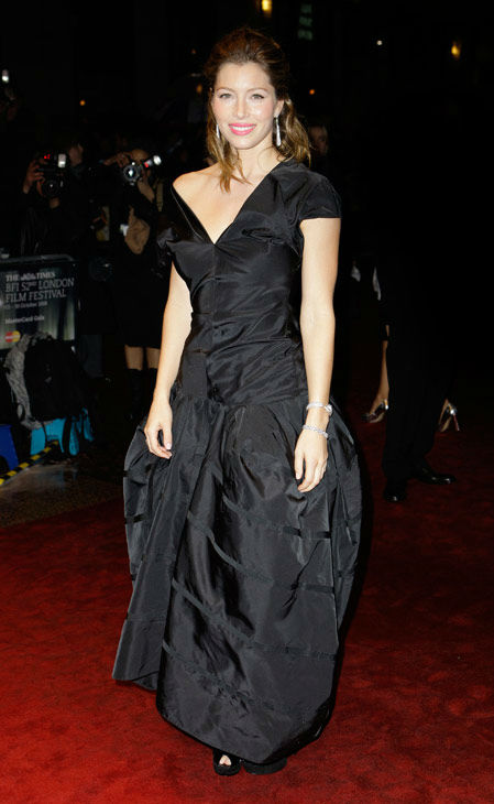 American actress Jessica Biel arrives for the BFI London Film Festival screening of Easy Virtue, in a central London cinema, Tuesday, Oct. 28, 2008.