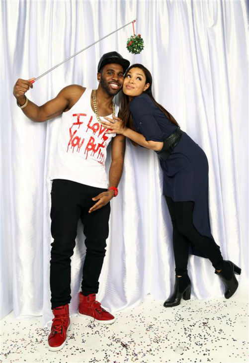Jordin Sparks and boyfriend Jason DeRulo pose in a holiday-themed photo booth at Z100&#39;s Jingle Ball 2013 on Dec. 13, 2013, just before Christmas. <span class=meta>(Sara Jaye Weiss  &#47; Startraksphoto.com)</span>