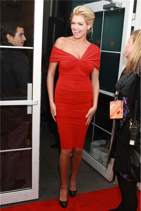 Kate Upton walks the red carpet at a Sports Illustrated party celebrating the 2012 Sports Illustrated Swimsuit issue in New York on Feb. 14, 2012. <span class=meta>(Dave Allocca &#47; Startraksphoto.com)</span>