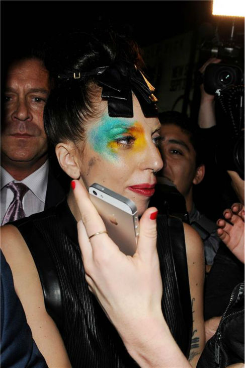 Lady Gaga appears at Micky&#39;s, a gay bar and nightclub in West Hollywood, California, on Aug. 12, 2013, the day she released her new single &#39;Applause&#39; following a leak she blamed on hackers. She sports similar makeup on the single&#39;s cover. <span class=meta>(Daniel Robertson &#47; startraksphoto.com)</span>