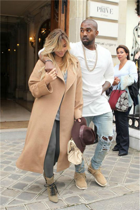 Kim Kardashian and Kanye West walk the streets of Paris during Paris Fashion Week on Sept. 28, 2013. <span class=meta>(Rex Features &#47; Beretta &#47; Sims &#47; Startraksphoto.com)</span>
