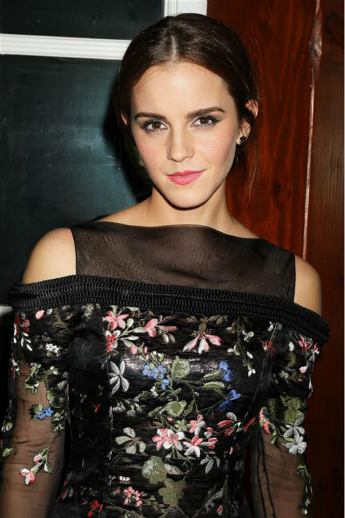 Emma Watson appears at the after party for the premiere of 'Noah' at The Boathouse in New York on March 26, 2014. She is wearing a black, sheer and floral Erdem Fall 2014 Ready-To-Wear dress. The actress plays Ila, wife of Noah's son Shem, in Darren Aronofsky's movie.