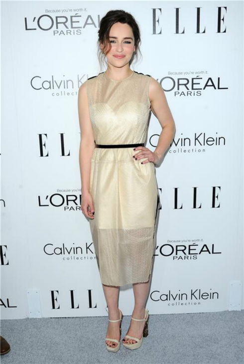 "<div class=""meta ""><span class=""caption-text "">Emilia Clarke of 'Game of Thrones' attends ELLE's 20th Annual Women In Hollywood gala in Beverly Hills, California on Oct. 21, 2013. (Sara De Boer / Startraksphoto.com)</span></div>"