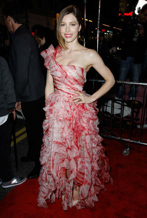 Jessica Biel arrives at the premiere for Valentine's Day on Monday, Feb. 8, 2010, in Los Angeles.