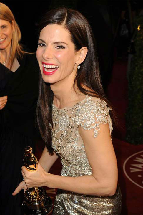 Sandra Bullock appears at the 2010 Vanity Fair Oscar Party in Los Angeles, California following her win for Best Actress for the film 'The Blind Side' at the Academy Awards on March 8, 2010.