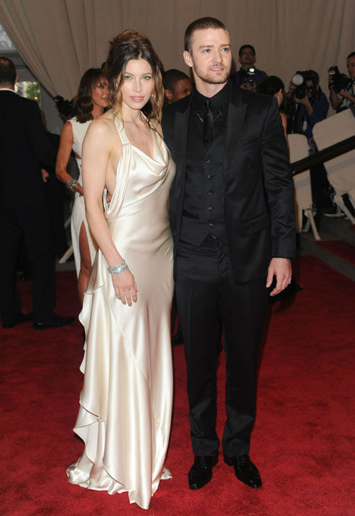 Actress Jessica Biel and singer Justin Timberlake arrive at the Metropolitan Museum of Art Costume Institute gala, Monday, May 3, 2010 in New York.