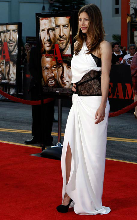 Cast member Jessica Biel arrives at the premiere...