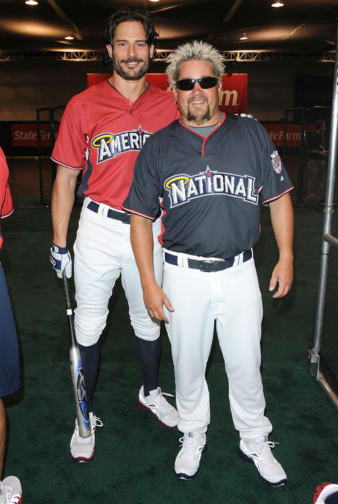 "<div class=""meta ""><span class=""caption-text "">The 'Heating-Up-Flavortown' stare: Joe Manganiello appears with Food Network star Guy Fieri at the MLB All-Star Fanfest Batting Practive, held at the Anaheim Convention Center in Anaheim, California on July 11, 2010. (Hollywood Press / Startraksphoto.com)</span></div>"